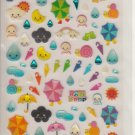 Q-Lia Rain Drop Umbrellas Weather Sparkly Sticker Sheet