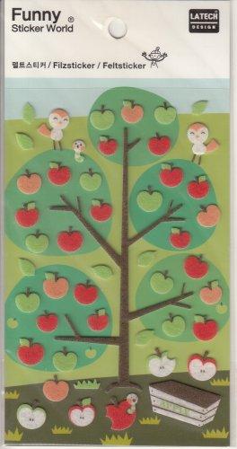 Funny Sticker World Apples Felt Sticker Sheet