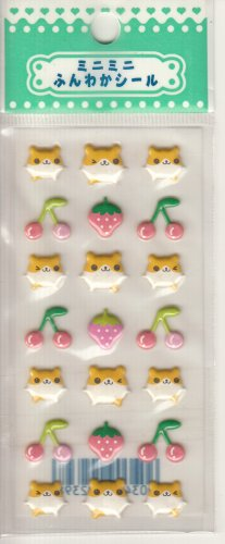 Lemon Co. Hamsters, Strawberries, and Cherries Puffy Mini Sticker Sheet