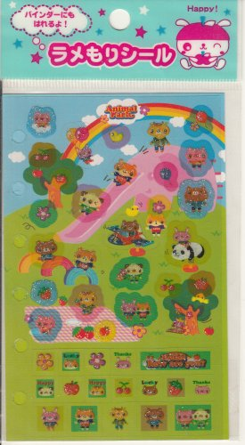 CSI Japan Animal Park Glittery Sticker Sheet