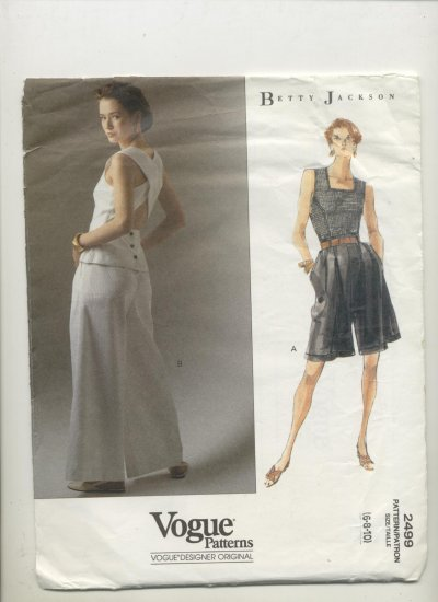 Vogue Sewing Pattern #2499 Betty Jackson Top, Wide Leg Shorts & Flared Pants