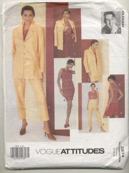Vogue Attitudes Todd Oldham Sewing Pattern Dress, Jacket,Skirt, Top & Pants #2874 Sizes 14-16-18