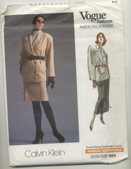 Vogue American Designer Calvin Klein Sewing Pattern Jacket & Skirt #1954 Sizes 14-16-18