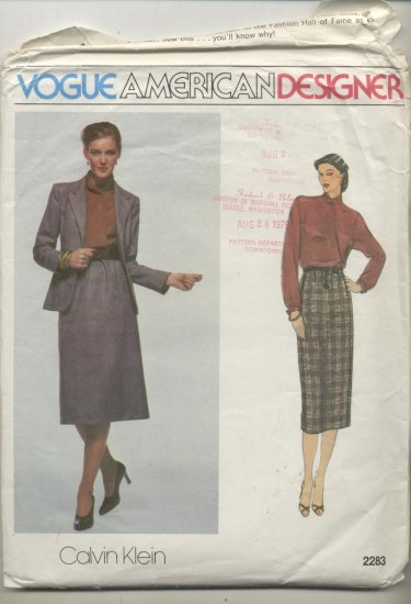 Vogue American Designer Calvin Klein Sewing Pattern Jacket, Blouse & Skirt #2283 Sizes 16