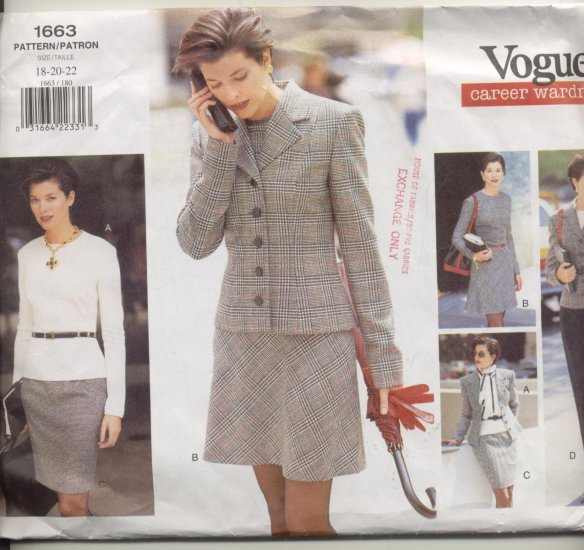 Vogue Career Wardrobe Sewing Pattern #1663 Sizes 18-20-22
