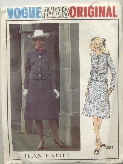 Vogue Paris Original Jean Patou Sewing Pattern 2 Pc Suit A Line Skirt & Jacket #2517 Size 8