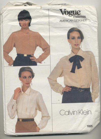 Vogue American Designer Calvin Klein Sewing Pattern Misses Blouses #1025 Sizes 18-20-22