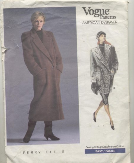 Vogue American Designer Perry Ellis Sewing Pattern A line Double Breasted Coat  #1935 Size 8