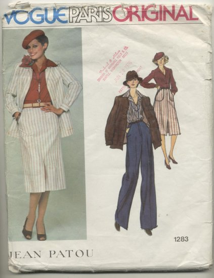 Vogue Paris Original Jean Patou Sewing Pattern Jacket, Skirt & Pants #1283 Size 16