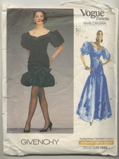 Vogue Paris Original Givenchy Sewing Pattern Dress #1993 Size 6