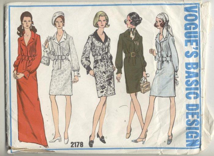 Vogue Basic Design Sewing Pattern Shirt Dress #2178 Size 16