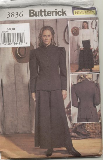 Butterick Pattern 3836 Women's Western Riding Skirt, Jacket and Blouse Sizes 12-16