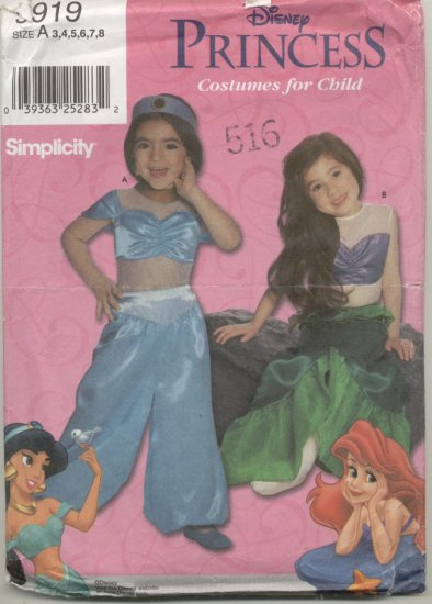 Simplicity Costume Pattern 9919 Disney Princess Jasmine & Ariel Sizes 3-8
