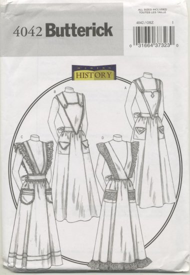 Full Bib Apron Sewing Pattern Butterick Pattern 4042 Ankle Length Aprons