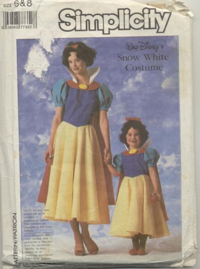 Simplicity Costume Pattern 7735 Disney Snow White Sizes 6-8