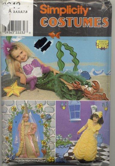 Simplicity Costume Pattern 0643  Ariel Little Mermaid Sizes 3-8