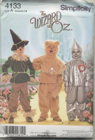 Simplicity Costume Pattern 4133  The Wizard of Oz Tin Man, Cowardly Lion, Scarecrow Sizes 3-8