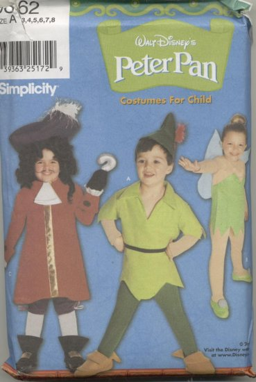 Simplicity Costume Pattern 9862  Peter Pan, Captain Hook, Tinkerbell Sizes 3-8