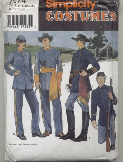 Simplicity Costume Pattern 7274 Civil War Uniforms  Sizes XS-XL