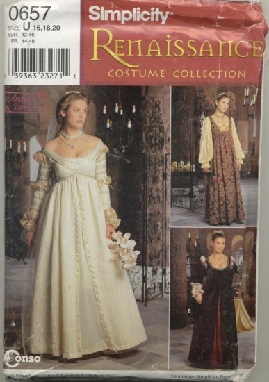 Simplicity Renaissance Costume Pattern 0657  Sizes 16-20