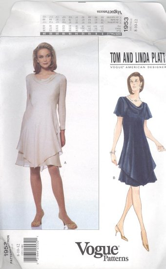 Vogue Tom and Linda Platt American Designer Dress & Slip Sewing Pattern 1953