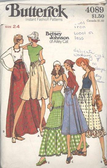 Betsey Johnson Wrap Skirt 1970s Sewing Pattern Butterick #4089