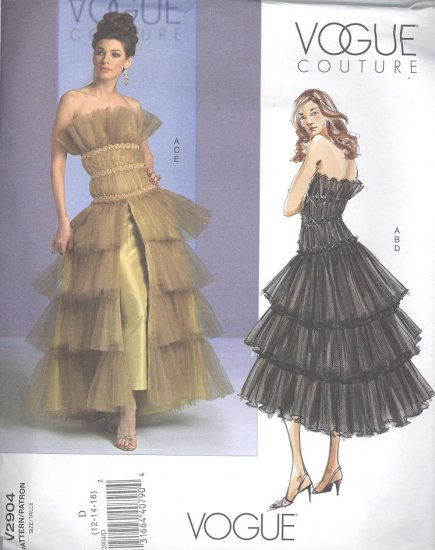 Vogue Couture V2904  Sewing Pattern Strapless Top, Layerd Skirt Sizes 12-16