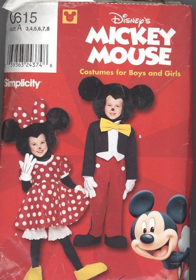 Disney Minnie & Mickey Mouse Costume Pattern Simplicity 0615 Children's Sizes 3-6