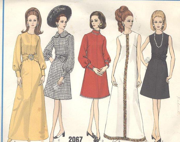 Vogue A Line Dress Sewing Pattern #2067 Vintage 1960's