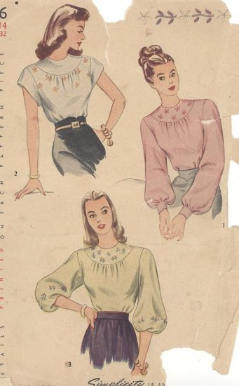 1946 Yoked Blouse Simplicity 1796 Vintage Sewing Pattern with Embroidery Transfer