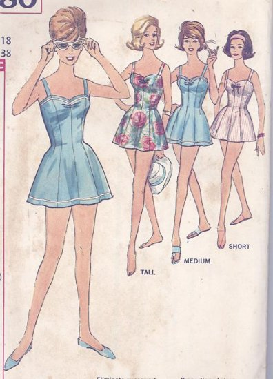 Womens Bathing Suit, Skirt, Romper Princess Lines Vintage 1960 Sewing Pattern Simplicity 4480