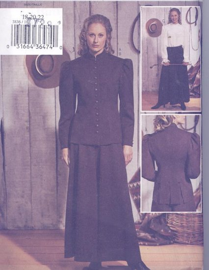 Butterick Pattern 3836 Women's Western Riding Skirt, Jacket and Blouse Sizes 18-22