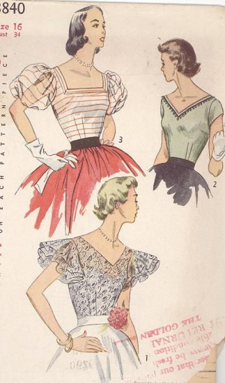 Cocktail  Blouse Puff or Double Flutter Sleeve, V Neck Vintage 1952 Sewing Pattern Simplicity 3840