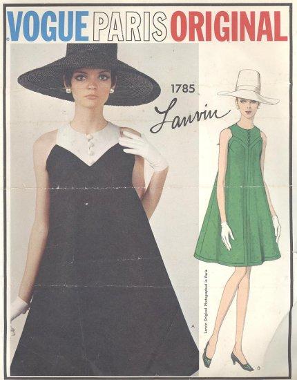 Vogue Paris Original Lanvin Tent Trapeze Dress 1967 Vintage Sewing Pattern 1785
