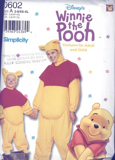 Winnie the Pooh  Costume Sewing Pattern Simplicity 0602