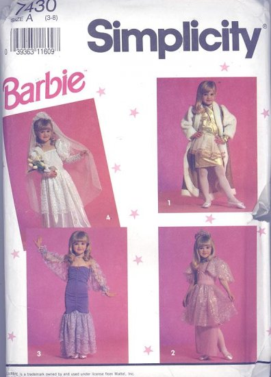 Barbie Girls Costumes Sewing Pattern Simplicity 7430