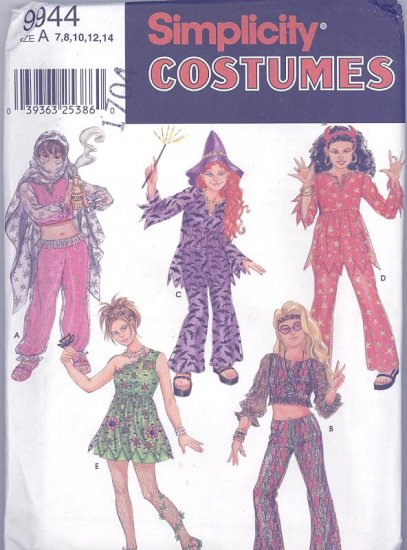 Girls Costumes Sewing Pattern Simplicity 9944 Genie, Hippie, Witch