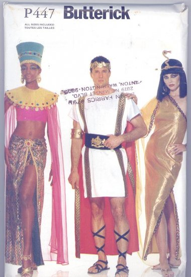 Egyptian Royalty Adult Costumes Sewing Pattern Butterick P447
