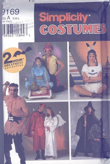 Genie, Devil, Angel, Witch, Sorcerer, Pirate, Indian Adult Costumes Sewing Pattern Simplicity 9169