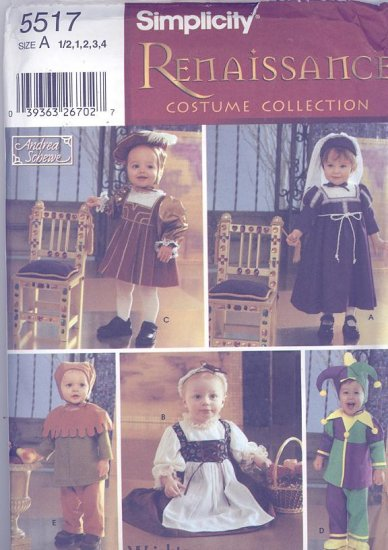 Andrea Schewe Children's Renaissance Costume Sewing Pattern Simplicity 5517