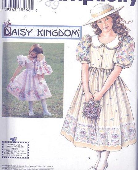 Daisy Kingdom Dress, Doll Dress Simplicity Sewing Pattern 7005 Sizes 3-6