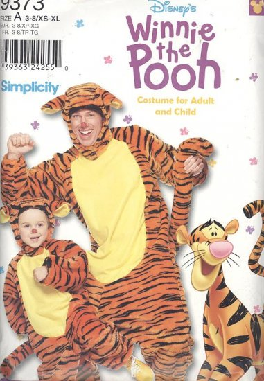 Tigger Costume Sewing Pattern Simplicity 9373 Adult and Children Sizes