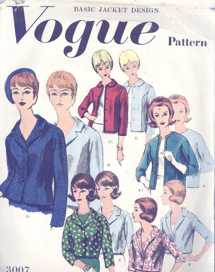 Vogue Basic Design Jacket Pattern Vogue 1960s Vintage Sewing Pattern 3007