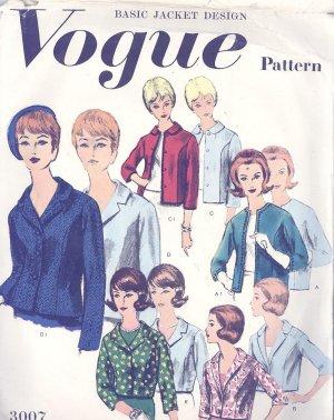 Vogue Basic Design Jacket Pattern Vogue 1960s Vintage Sewing Pattern 3007