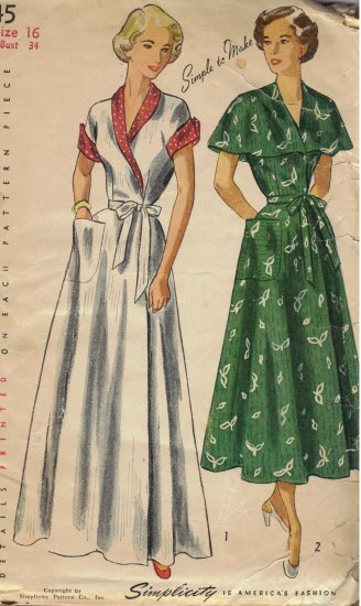 1949 Women S Wrap Around Brunch Coat House Dress Vintage