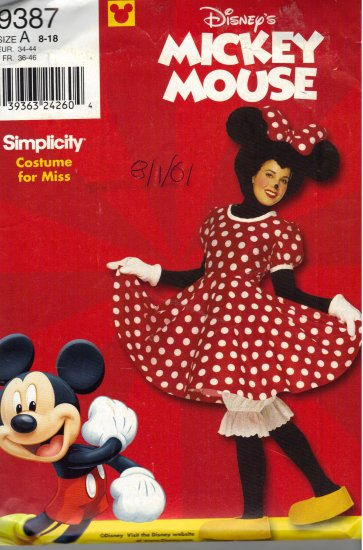 Disney Minnie Mouse Costume Pattern Simplicity 9387 Adult Sizes 8-18