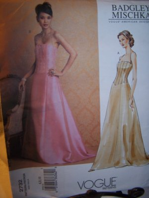 Vogue 2732 Designer Sewing Pattern Badgley Evening Gown Sizes 6-10
