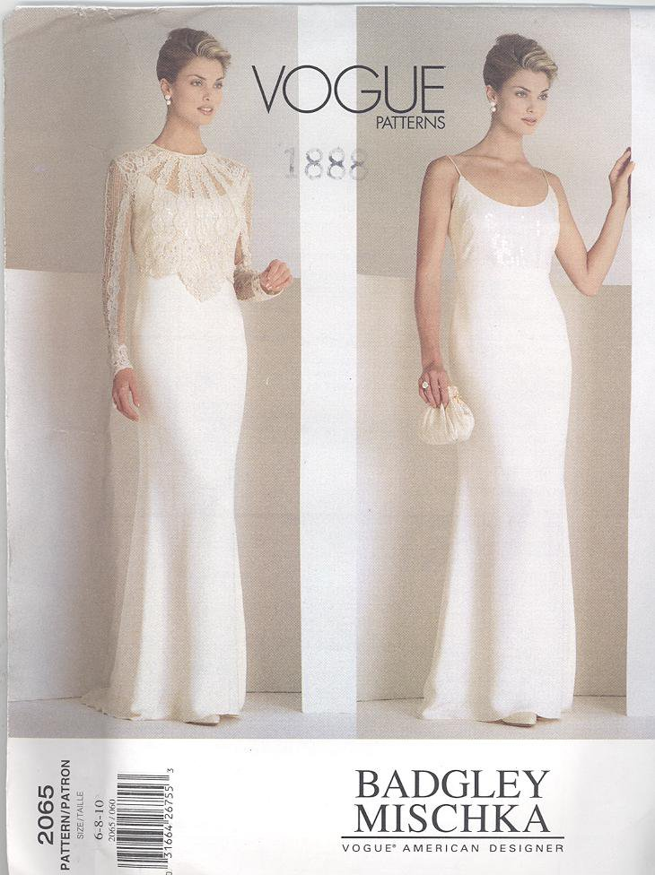 Vogue 2065 Badgley Mischka American Designer Dress & Top Sewing Pattern 2065