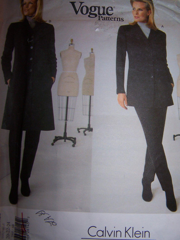 Vogue Sewing Pattern 2005 Jacket,Top, Pants Calvin Klein