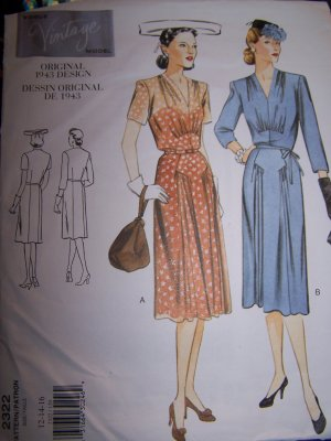 Vogue Vintage Original 2322 1943 Design Dress Sewing Pattern sizes 12-16